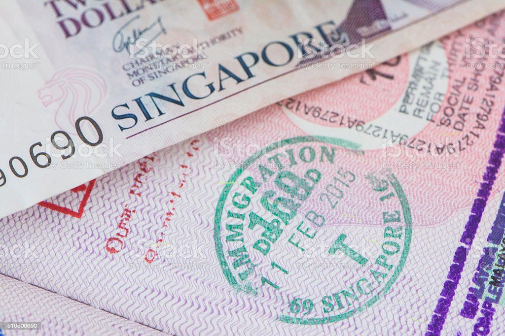 Singapore Passport Stamp stock photo