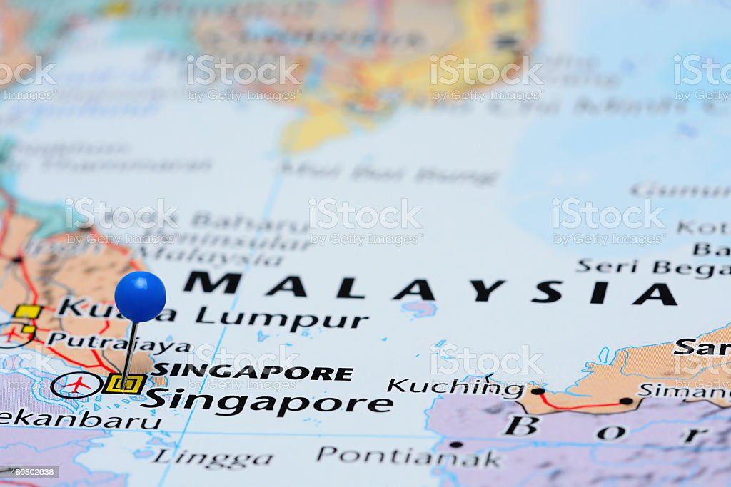 Singapore pinned on a map of Asia stock photo