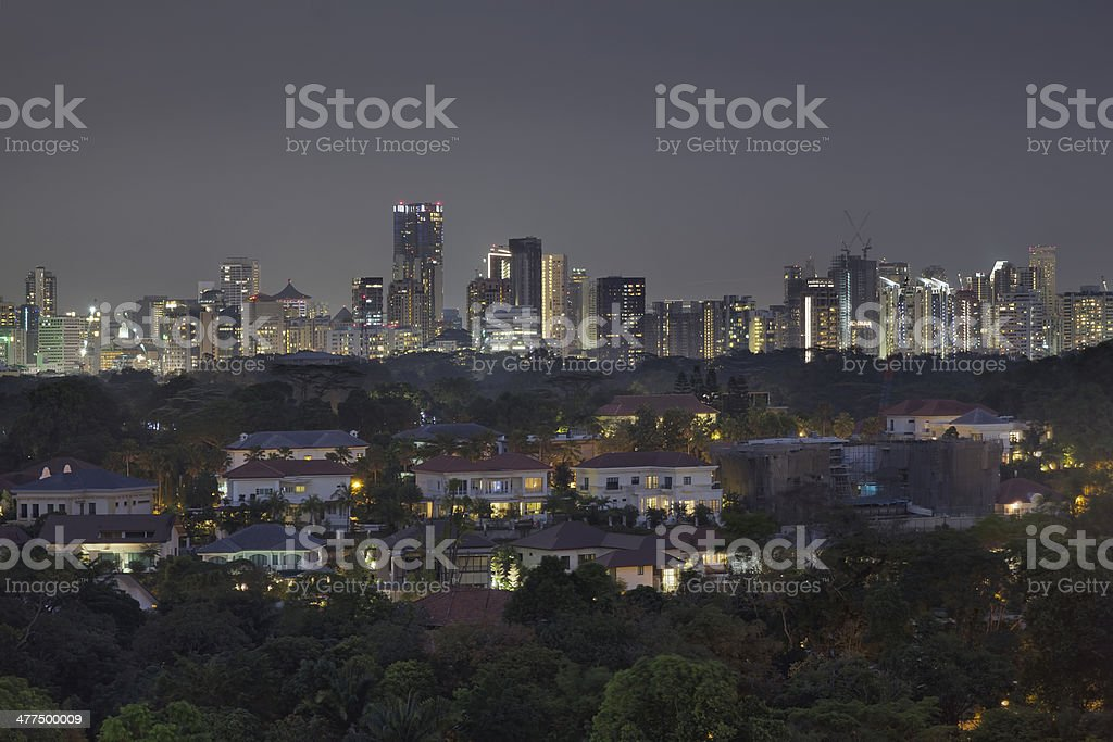 Singapore Private Homes with Skyline Background stock photo