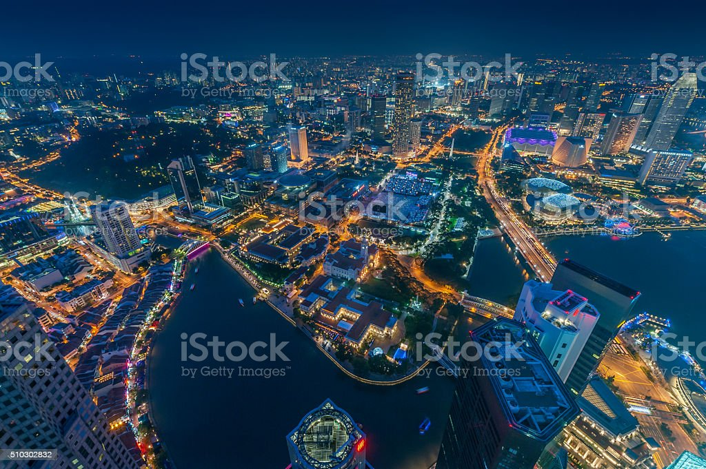 Singapore River and Padang field at night stock photo