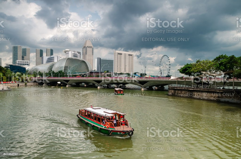 Singapore River and Twakows. stock photo