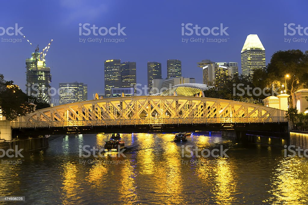 Singapore River. Anderson Bridge. stock photo