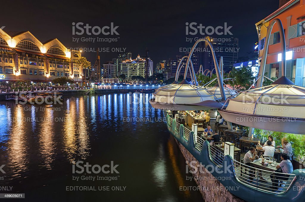 Singapore riverside restaurants Clarke Quay illuminated at night stock photo