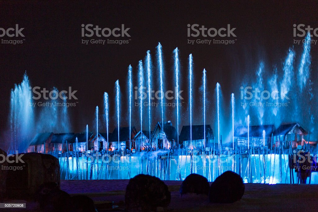 Singapore, Sentosa Islands, Laser show stock photo