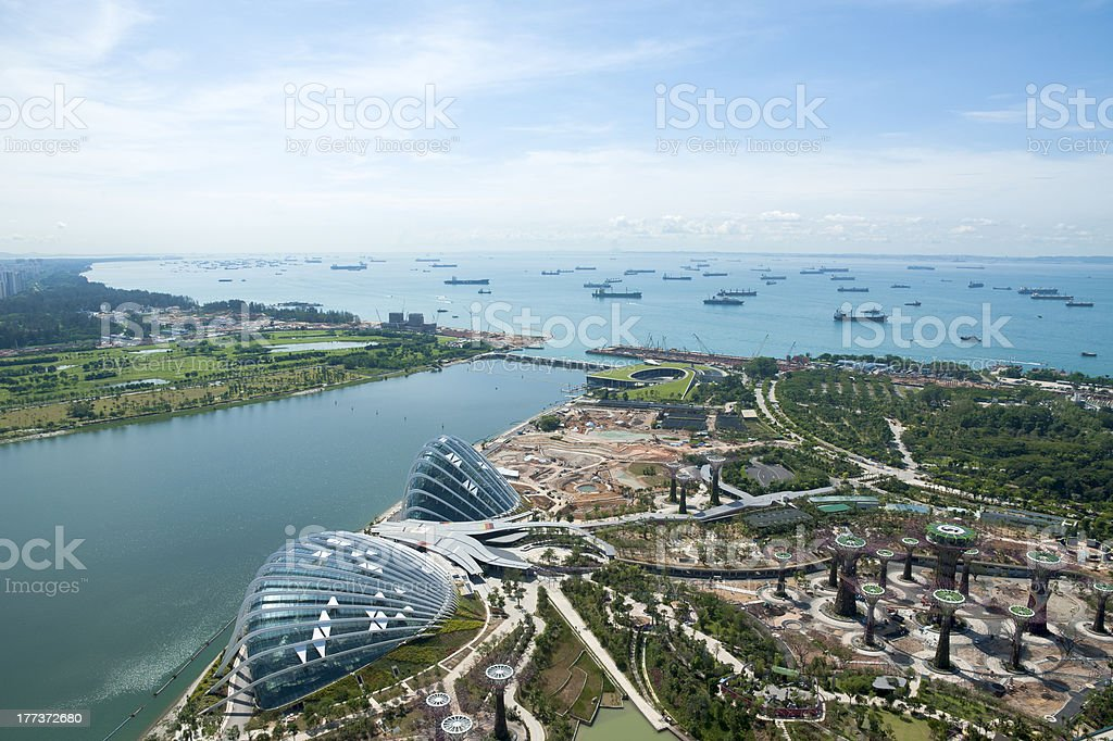 Singapore ships moored & botanical garden view stock photo