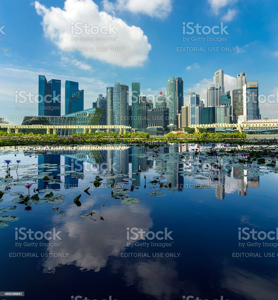 Singapore Skyline 2015 from Art Science Museum stock photo