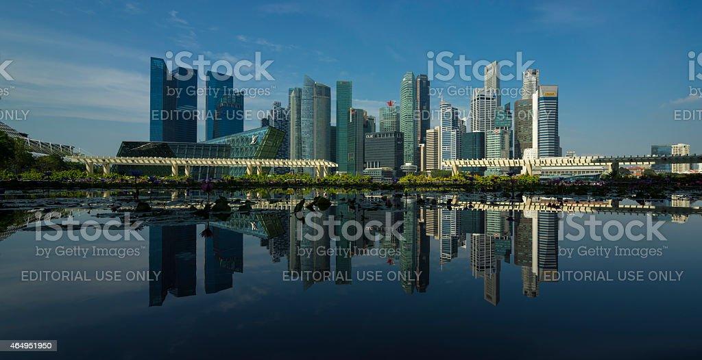 Singapore Skyline 2015 in Panorama stock photo