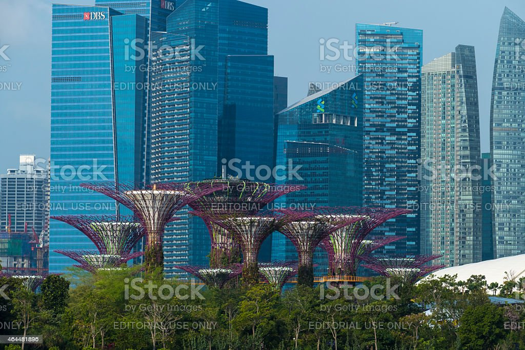 Singapore Skyline 2015 with focus on Marina Bay Financial Centre stock photo