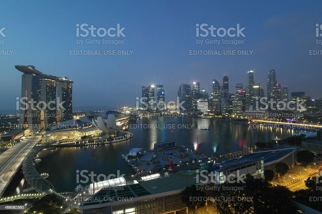 Singapore skyline at dawn stock photo