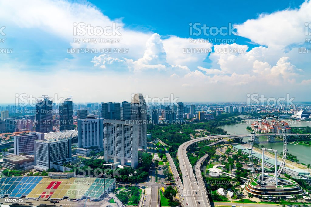 Singapore Skyline at Marina Bay from Aerial View. Singapore Central Area and Cityscape in Marina Bay. Singapore City and Skyline at Financial District, Downtown at Marina Bay. stock photo