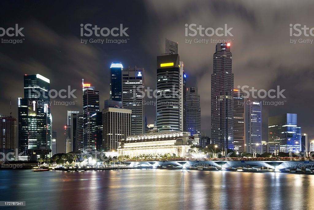 Singapore Skyline at Night - Close VIew royalty-free stock photo