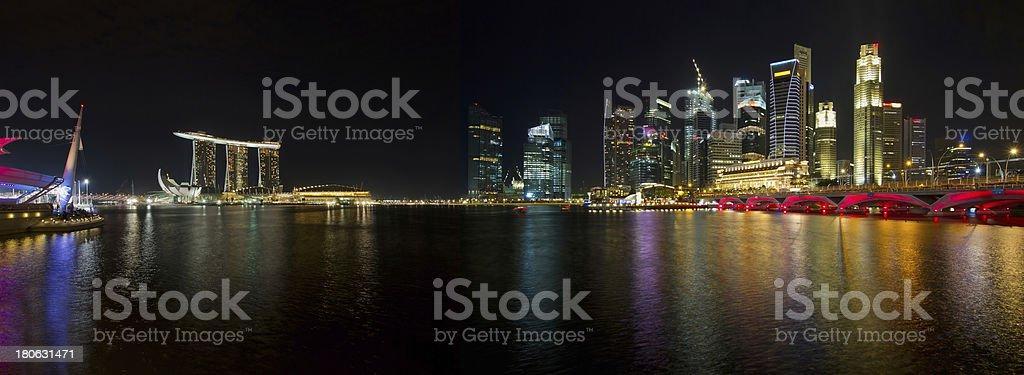 Singapore Skyline at Night Panorama royalty-free stock photo