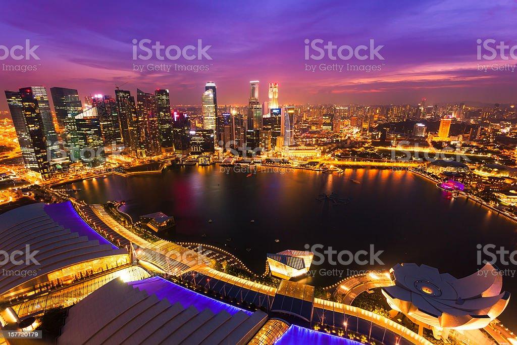 Singapore Skyline at Sunset royalty-free stock photo