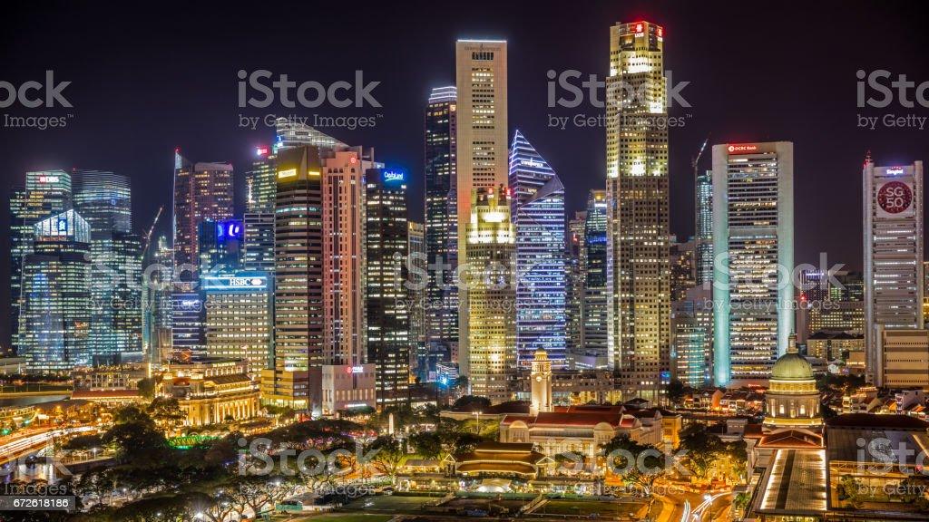 Singapore Skyline Business District Panorama at Night stock photo