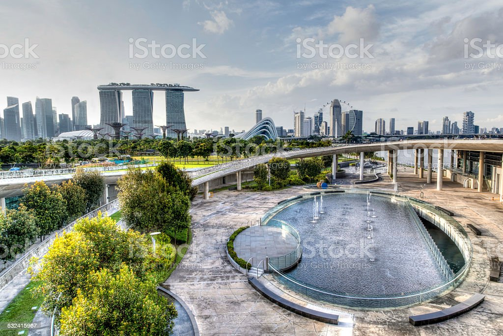 Singapore Skyline From Marina Barrage stock photo