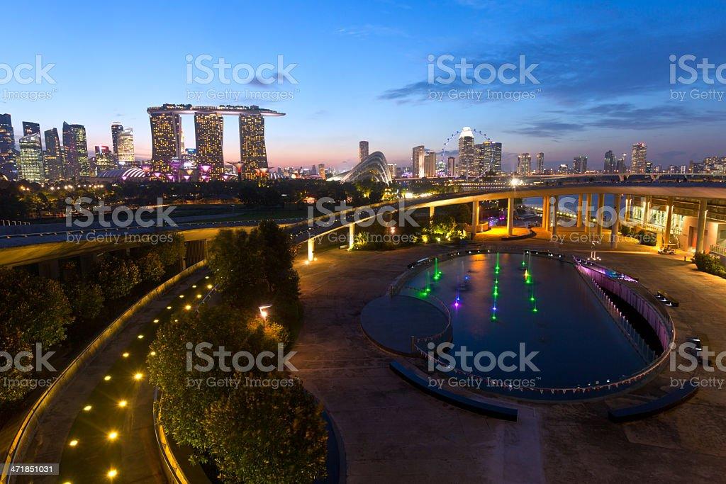 Singapore, skyline from the Marina Barrage. stock photo