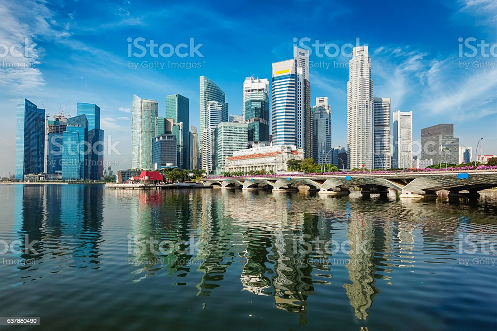 Singapore skyline over Marina Bay stock photo