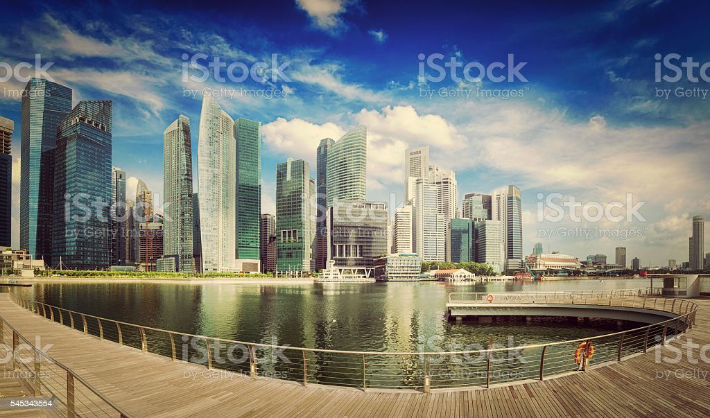 Singapore skyline panorama stock photo
