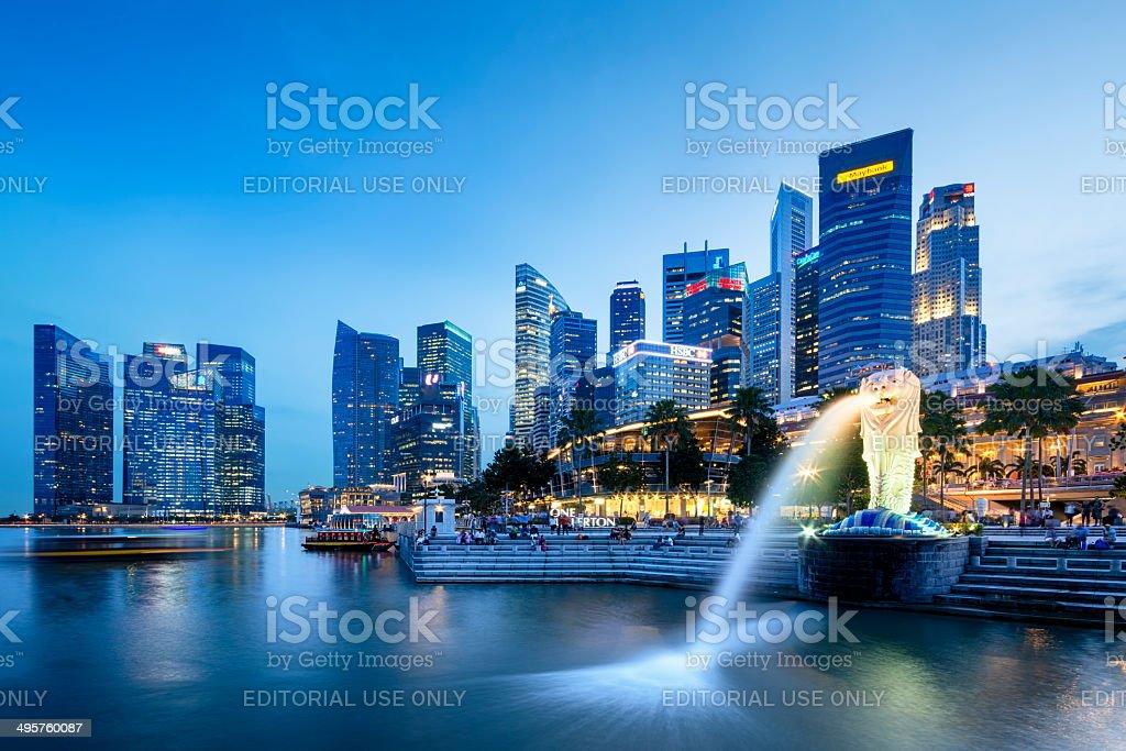 Singapore Skyline (Merlion) stock photo