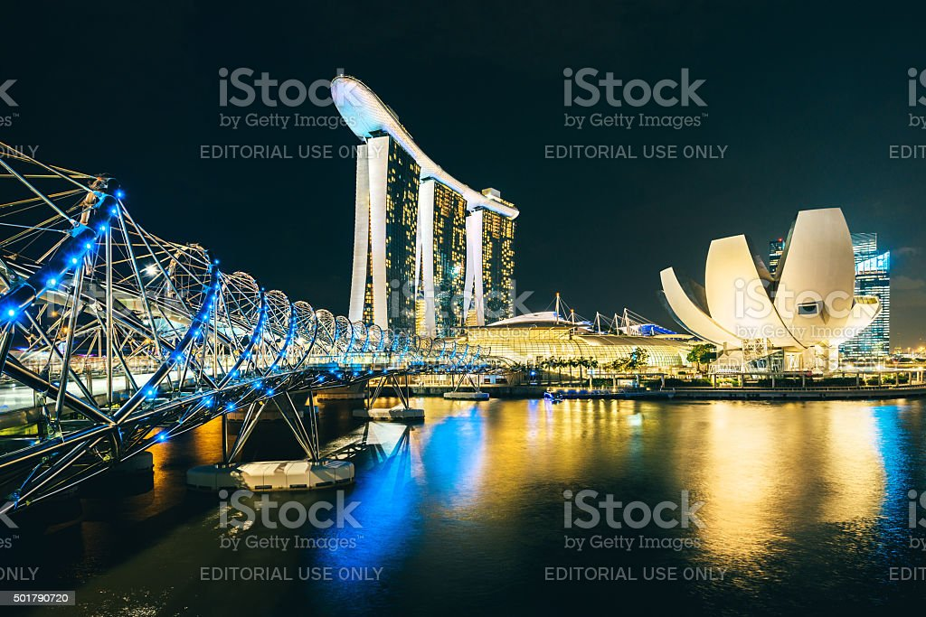 Singapore Skyline reflecting in water stock photo