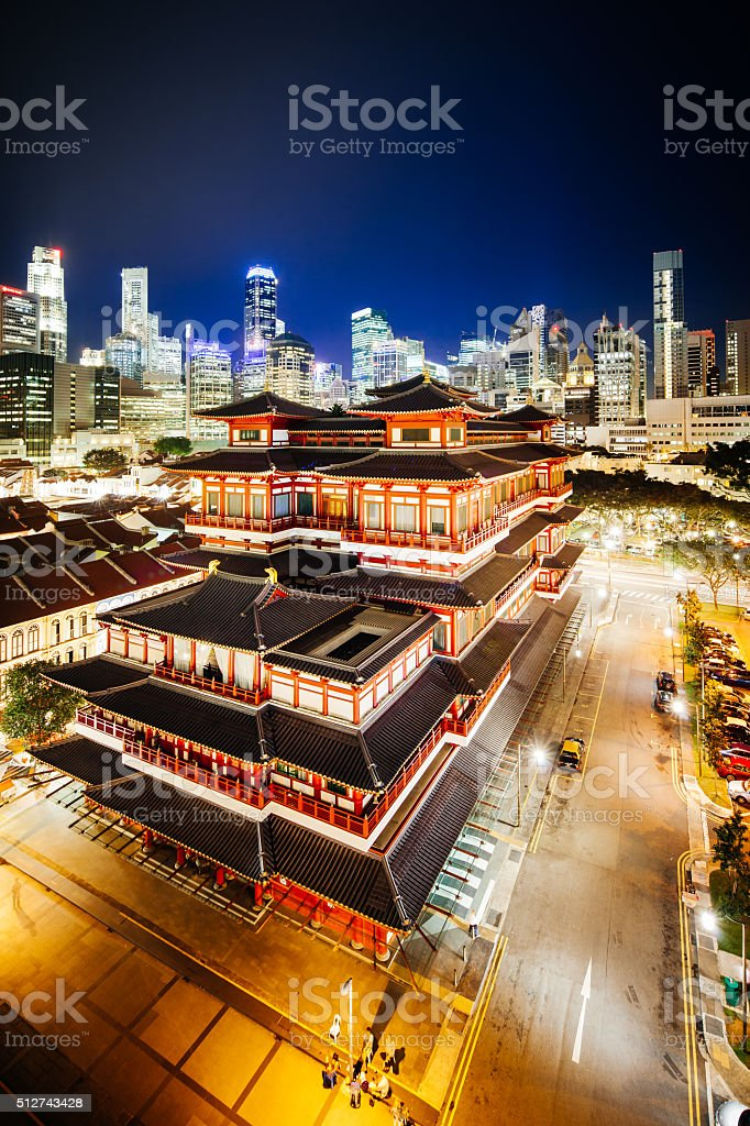 Singapore Skyline with Buddha Tooth Relic Temple in Chinatown stock photo