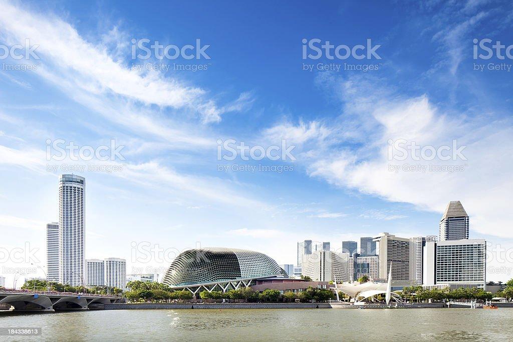 Singapore Skyline with Esplanade Theatre stock photo