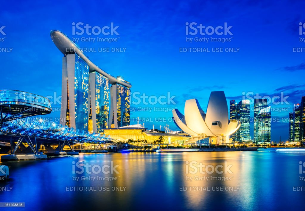 Singapore Skyline with Marina Bay Sands Hotel, Singapore stock photo
