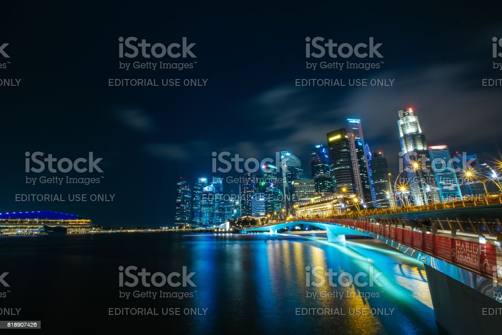 Singapore skyscrapers at evening stock photo