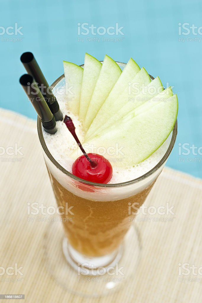 Singapore Sling classic cocktail near waterpool close up stock photo