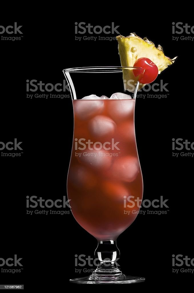 Singapore sling over black in a beautiful long drink glass stock photo