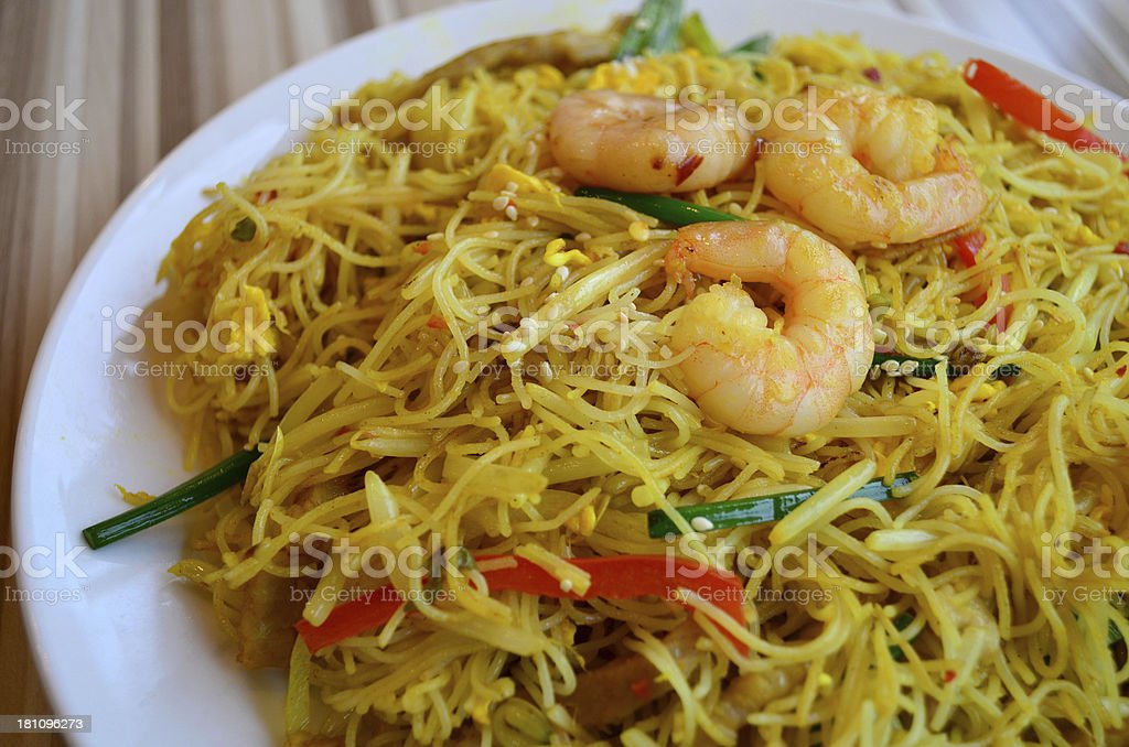 Singapore style fried vermicelli royalty-free stock photo