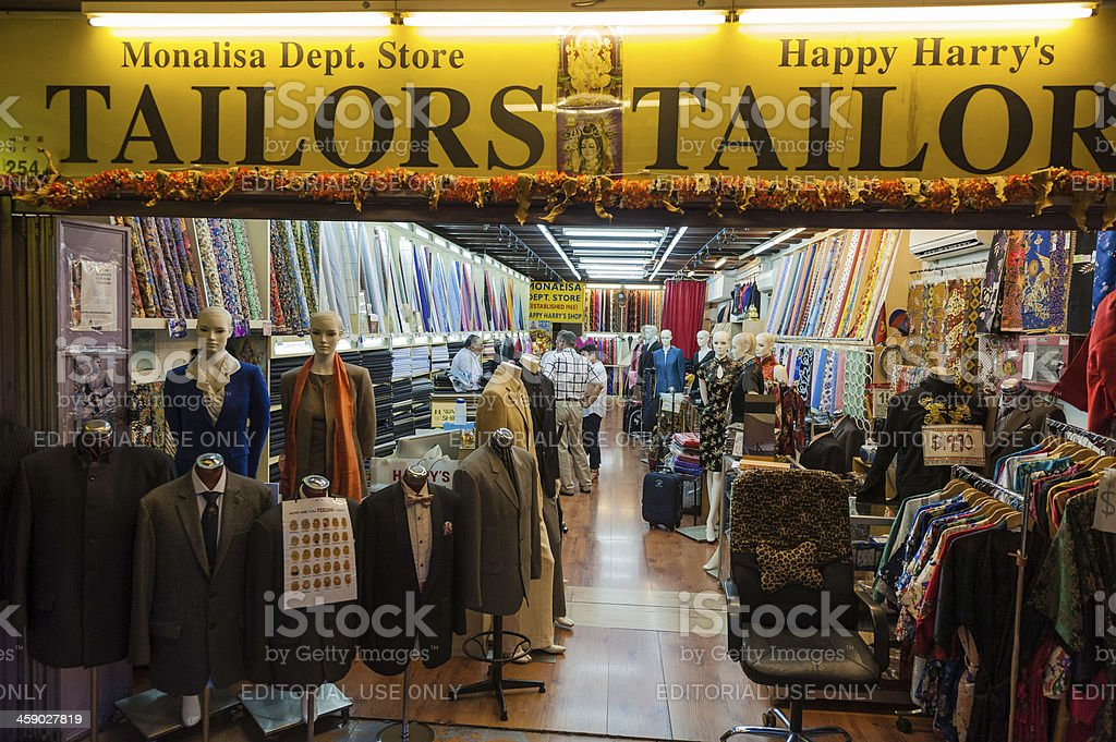Singapore tailor shop in Little India at night royalty-free stock photo