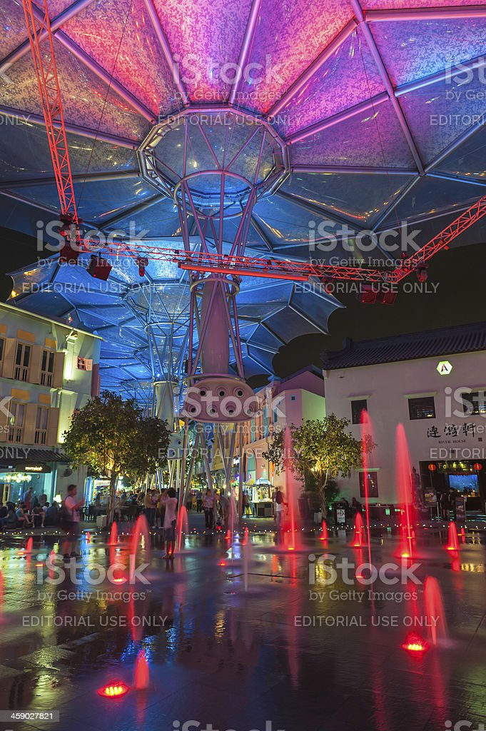 Singapore tourists at colourful fountains of Clarke Quay royalty-free stock photo