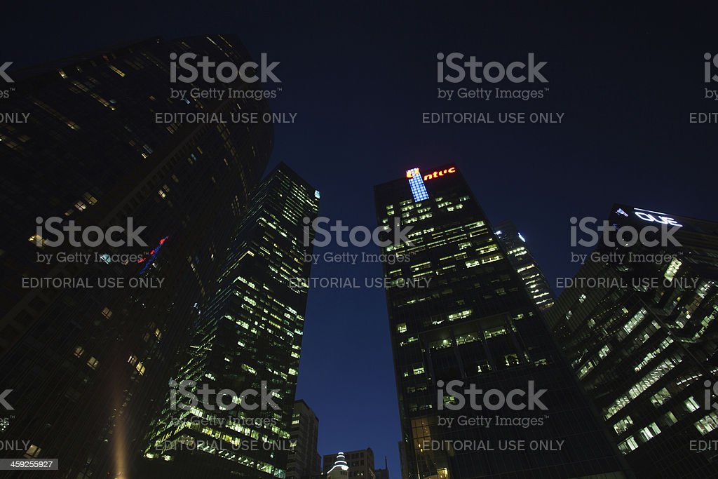 Singapore's night, modern business buildings at dusk. royalty-free stock photo