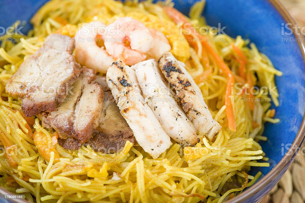 Singapore-Style Noodles royalty-free stock photo