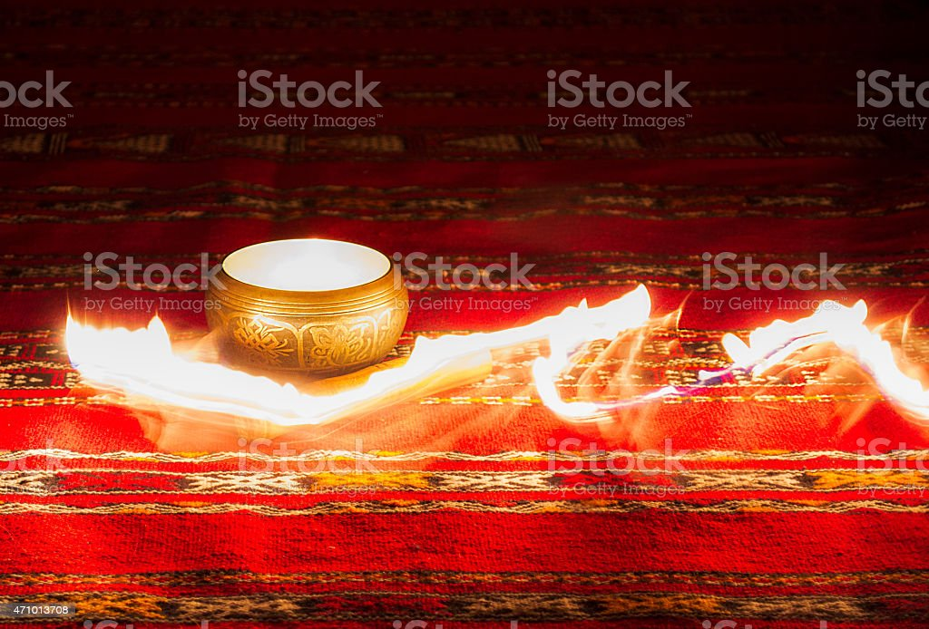 Sing-bowl_on-fire stock photo