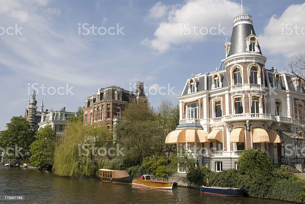 Singelgracht Canal Houses in Amsterdam stock photo