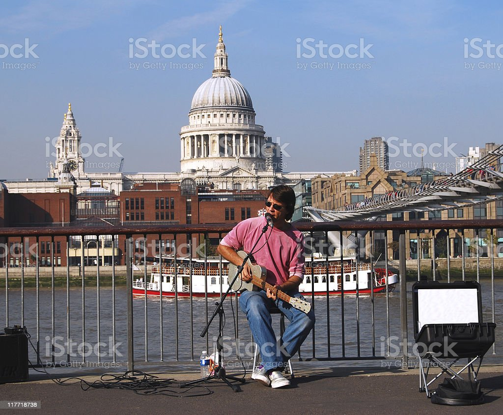 Singer at southbank in London royalty-free stock photo