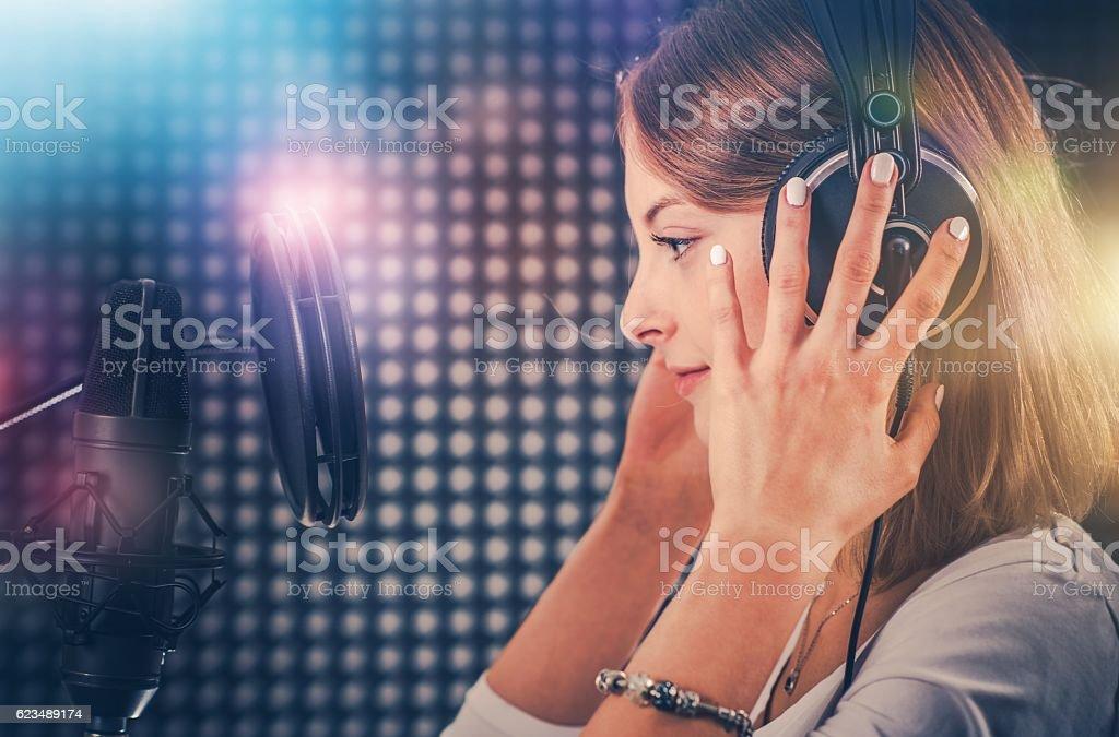 Singer in Recording Studio stock photo