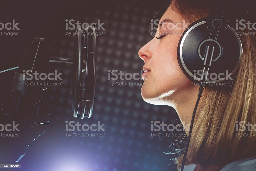 Singer Performing with Passion stock photo