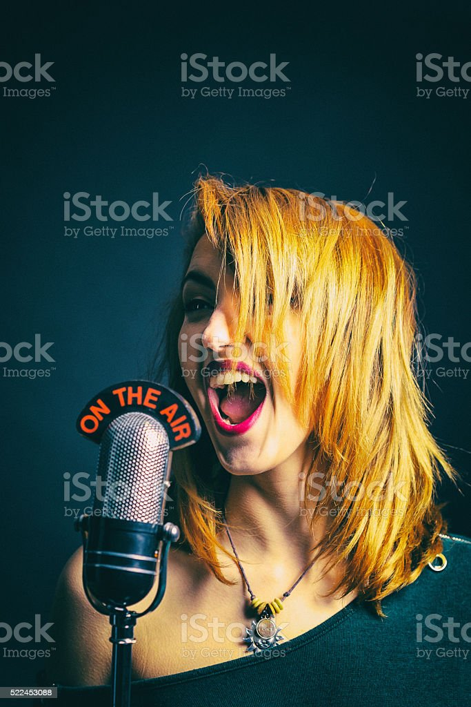 ON THE AIR singer stock photo