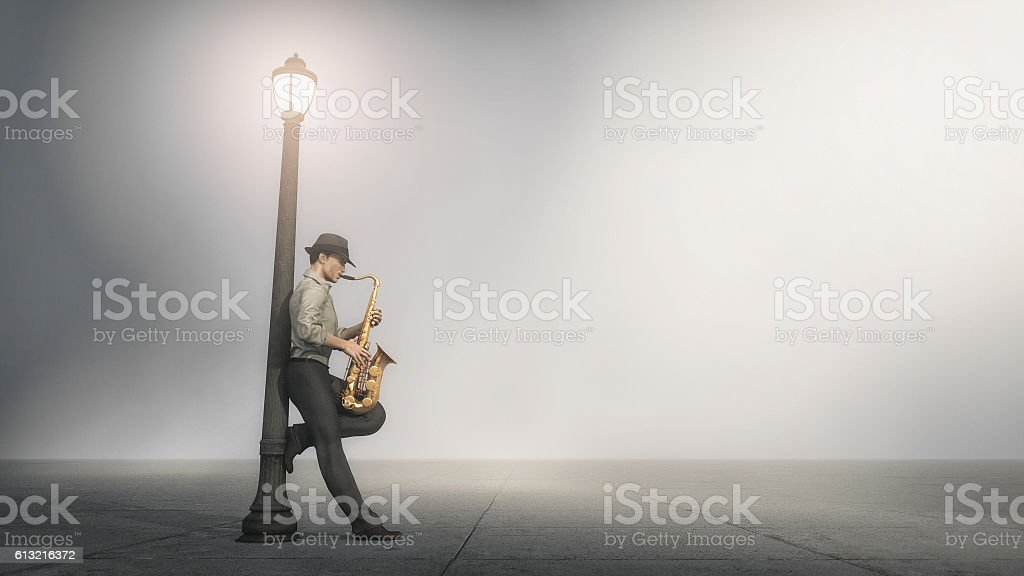 Singer saxophone supported by a pole stock photo