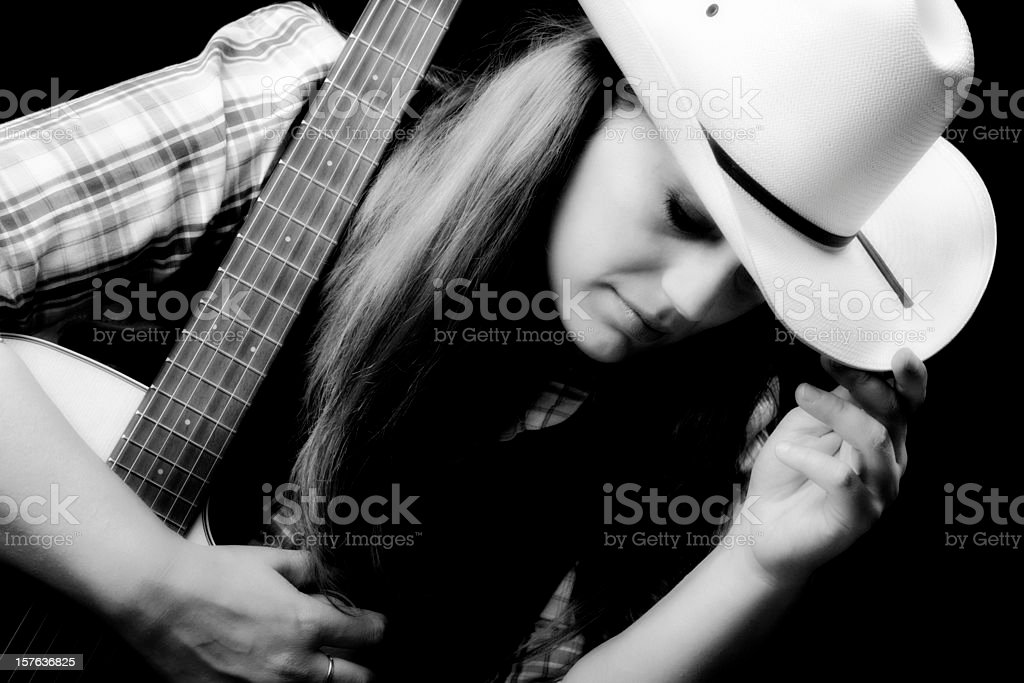 Singer with Guitar. Black and White stock photo