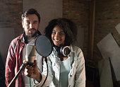 Singers at a recording studio