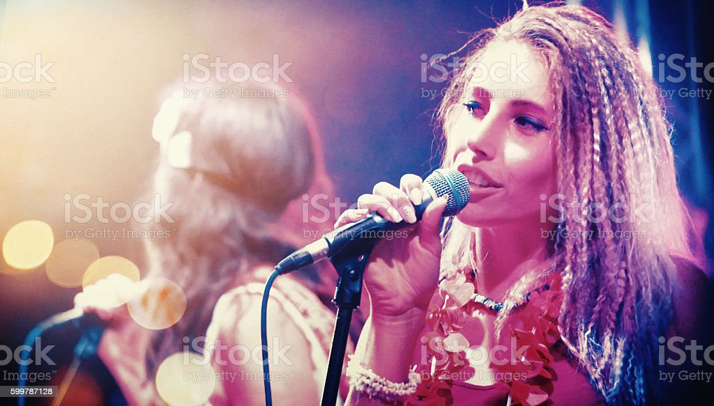 Singers at concert. stock photo