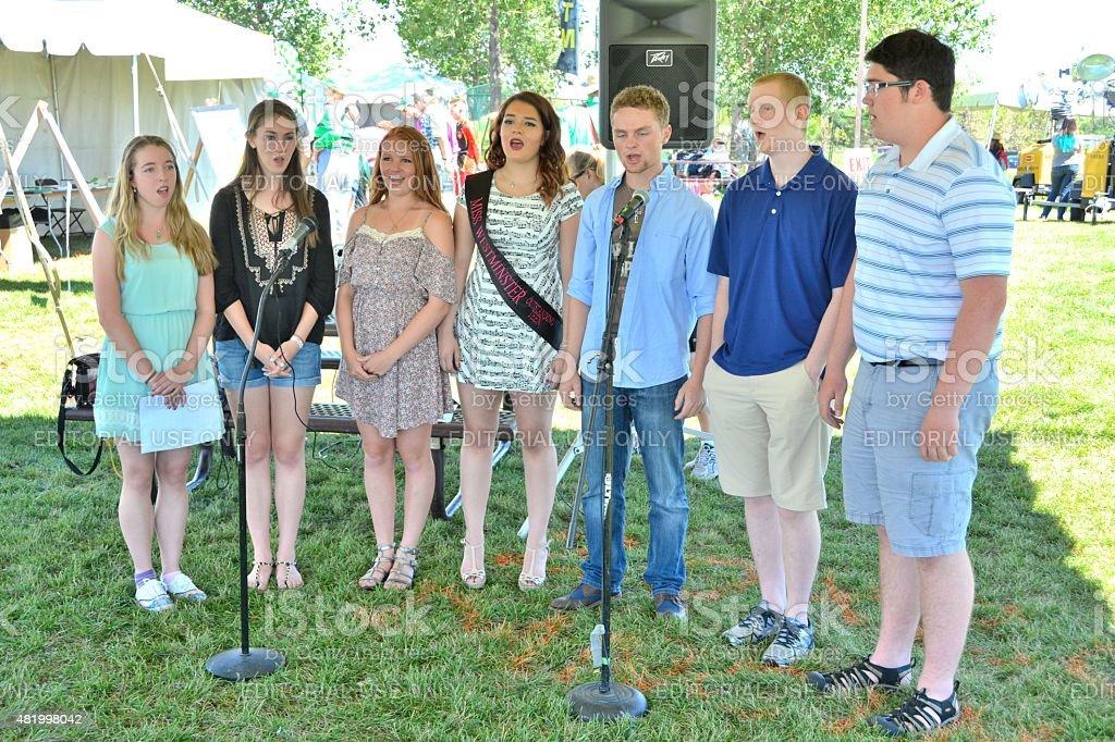 Singers at the Colorado Irish Festival stock photo