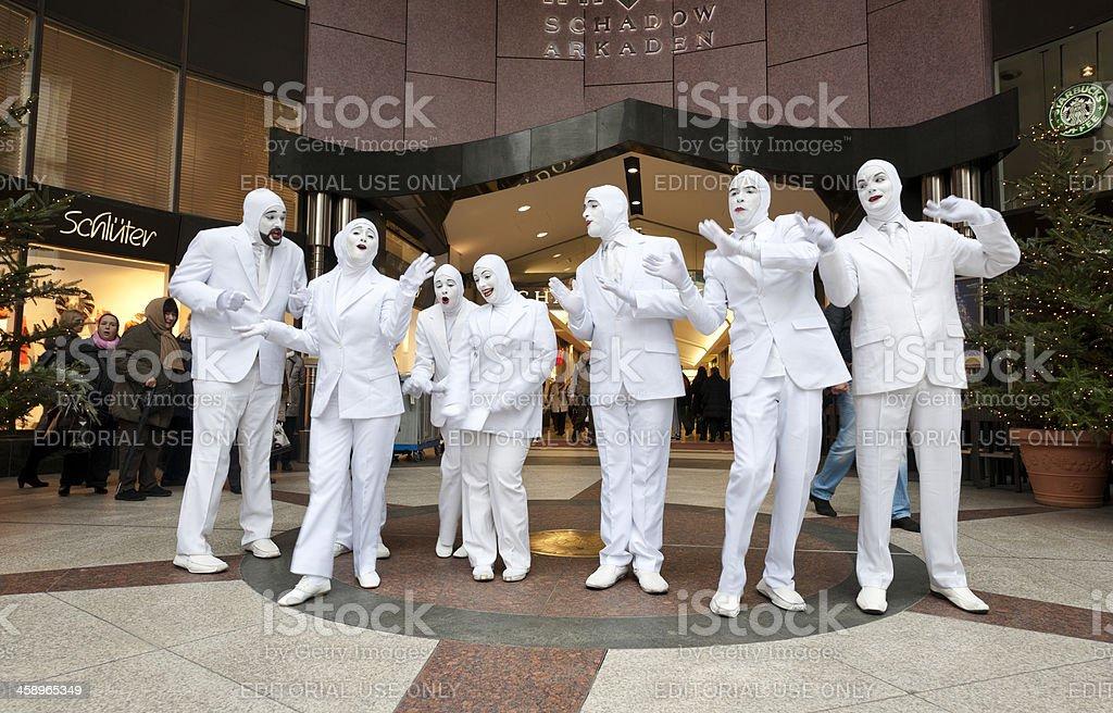 singers performing outside Schadow Arkaden in Dusseldorf Germany stock photo