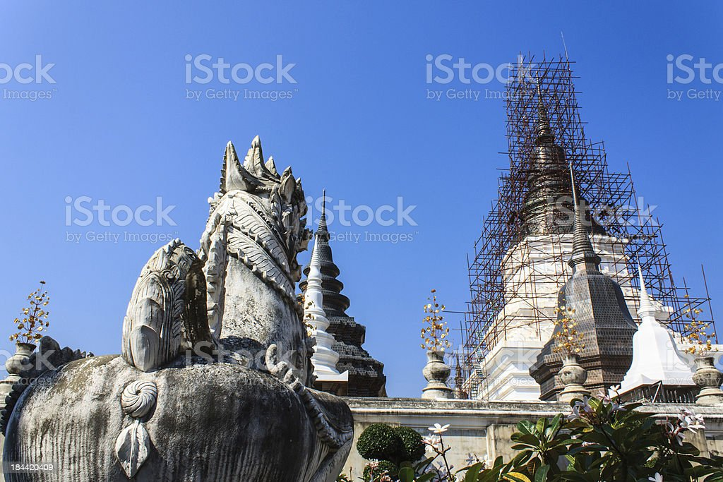 Singha look  Chedi in Wat Ban Den royalty-free stock photo