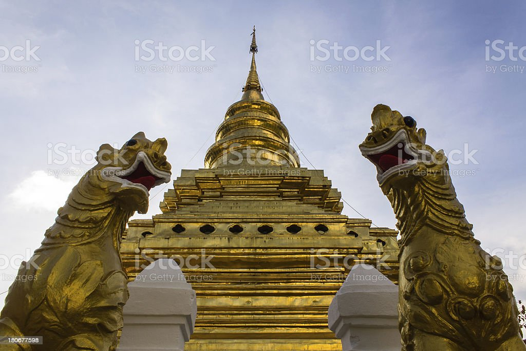 Singha Statue in Wat Pra That Chomthong vora vihan royalty-free stock photo