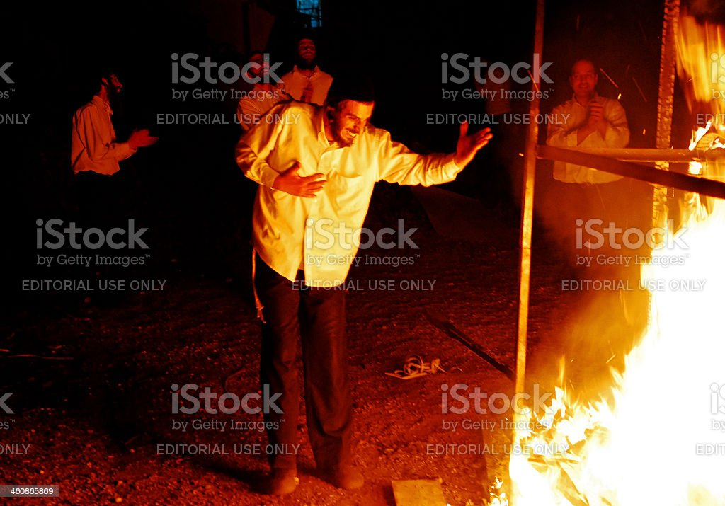 Singing and Dancing around a Lag Baomer Fire. stock photo